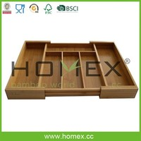 Extendable Bamboo Drawer Cutlery Tray/Flatware Tray/Homex_FSC/BSCI Factory