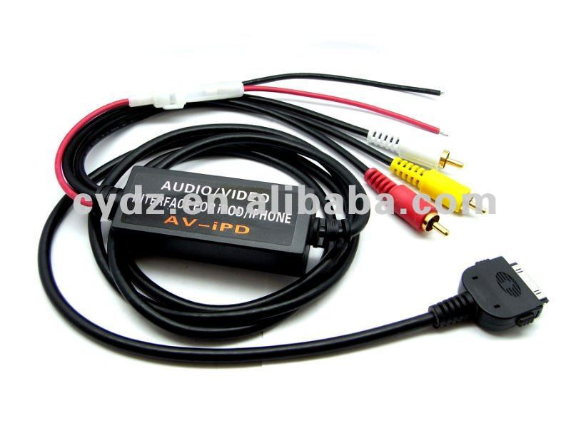 5V3RCA ipod/iphone audio/video cable, connecting with AUDI,BMW,ALPINE and other kinds of car/bus acoustics
