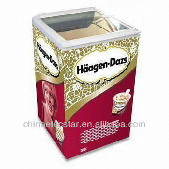 Top Open Glass Door Freezer / cooler/ Ice Cream Display Freezer