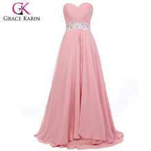 Grace Karin Ladies Strapless Sweetheart Chiffon Long Pink Finery Evening Dresses CL6202