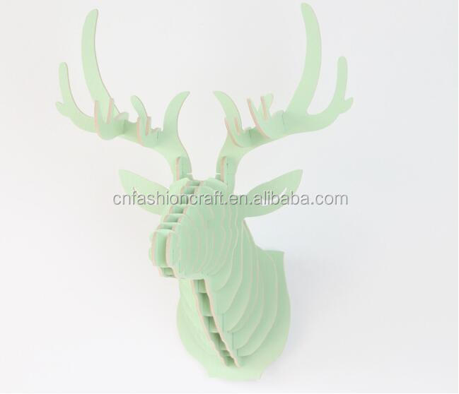 D Puzzle Wooden DIY Model Wall Hanging Deer Head Elk Deer Head <strong>Wood</strong> Gift Craft Home Decoration Animal Wildlife