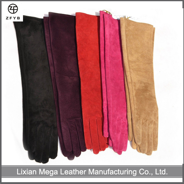 ZF5230 custom made 30cm to 60cm long color suede leather evening/elbow opera long gloves