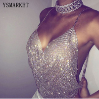 YSMARKET Popular Sexy Nightclubs Exposed Umbilical Vest Backless Halter Deep V Low-cut Rhinestones Sequined Tank Tops E1879