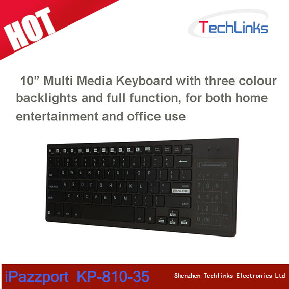 Original iPazzport KP-810-35 Wireless Multi Media Backlit QWERTY Keyboard With Mouse Touchpad
