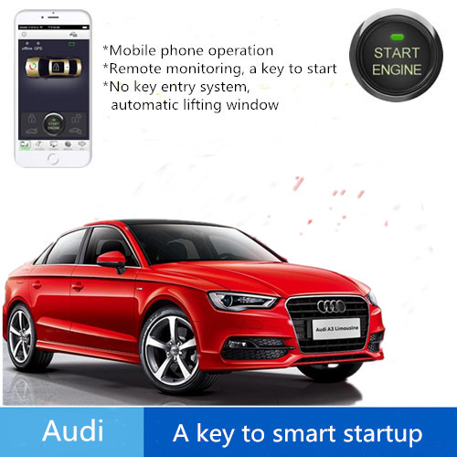 Smart Push button engine start stop Mobile phone control car Safaty System keyless for Audi