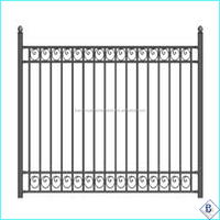 monocycle Galvanized E-coat 3-Rails Flat Top steel fencing with ring