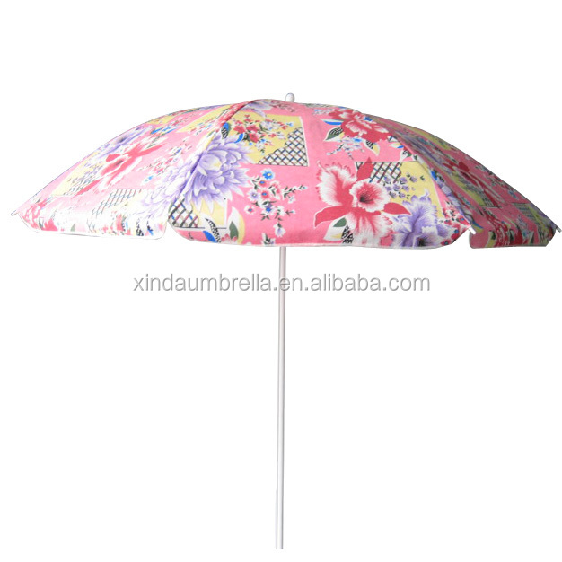 TNT Fabric 200cm*8k Windproof Beach Umbrella with Customized Printing Design for promotional XD-BU110
