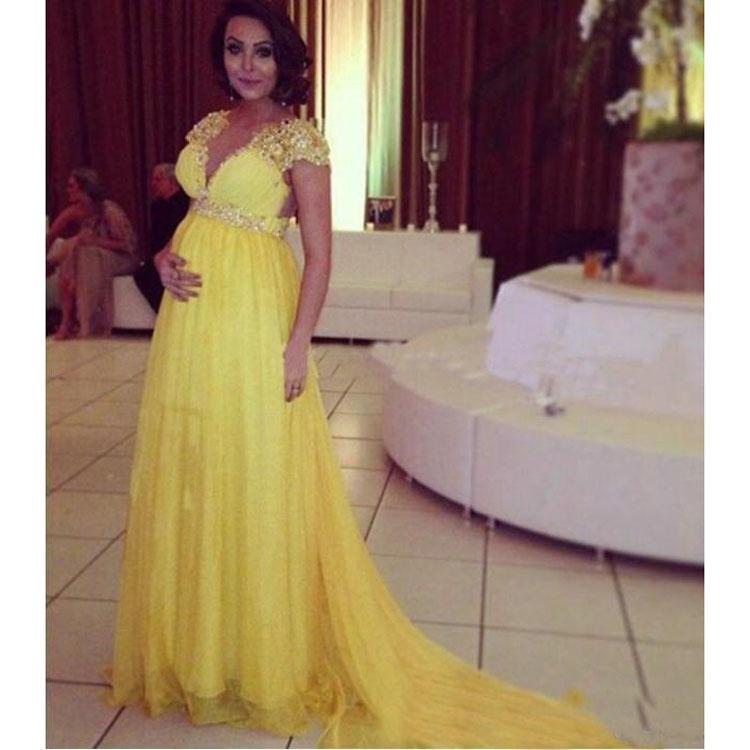 Maternity Evening Dresses Bright Yellow Short Sleeves Chiffon Long ...