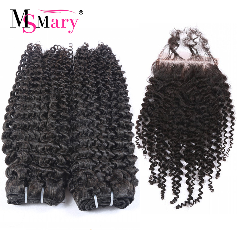 Hot Selling 2017 Bundles With Closure Kinky Curly Hair Retail Online Shopping Cuticle Aligned Hair