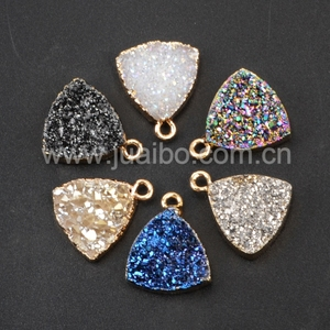 Fashion druzy stone pendant wholesale,Triangle druzy charm pendant