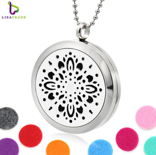 Accessories for women necklace stainless steel snowflower diffuser necklace wholesale paws diffuser locket pendant