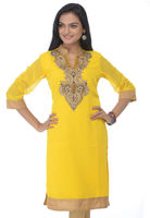 Yellow faux georgette readymade kurti designed with resham, beads, cutbead and stone work 2016