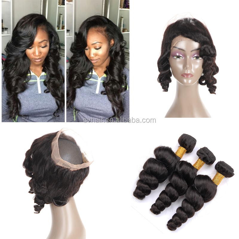 SV Wholesale Nice Looking 360 Frontal Lace Closure With Bundles,Unprocessed Brazilian Human Hair with Natural Color Loose Wave