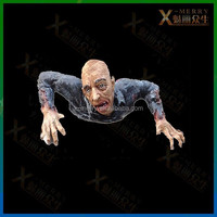X-MERRY Crawling Old Man China Zombie Halloween Prop Life Size Haunted House Decor Latex Prop To Sett The Scary Environment