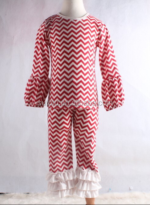 Christmas children pajamas wholesale red chevron cotton nightgown clothing set childrens boutique clothing christmas sue lucky