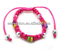 Fashion wholesale cheap wood beads nylon cords braided bracelet