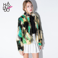 HAODUOYI Women Winter Style Faux Fur Coats Colorful Patchwork Over Coats for Wholesale