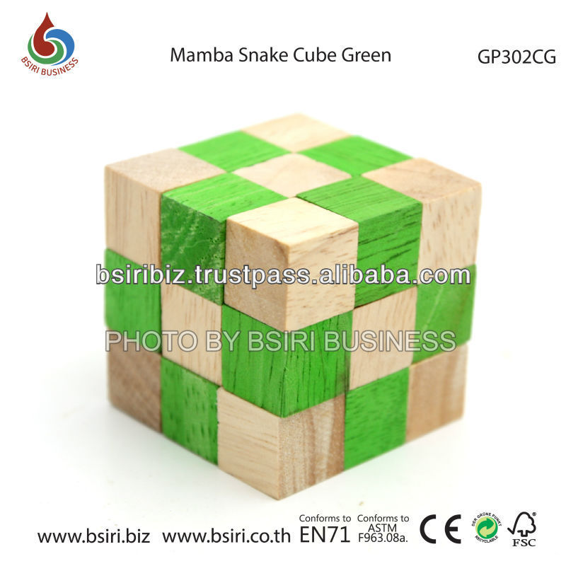 wooden puzzle Mamba Snake Cube Green