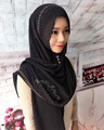 Latest big size bubble chiffon muslim long scarf with stones and unseen button islamic scarves hijab HW226