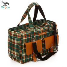 Durable Canvas Grid Dog Travel Carriers Bag With Breathable Mesh Windows