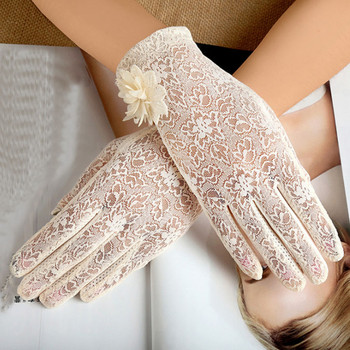 Fashion ladies lace flower gloves summer driving gloves touch anti-skidding sunscreen gloves