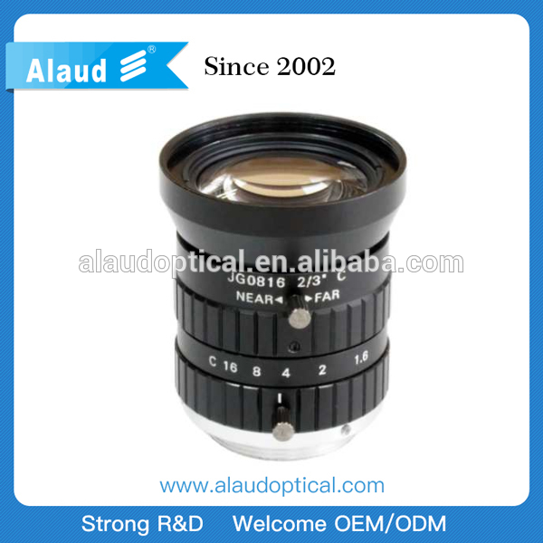 low distortion F1.6 5mp 8mm c mount machine vision lens for 2/3''