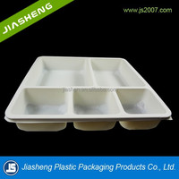 five compartments white PP plastic microwaved and frozen plastic food container