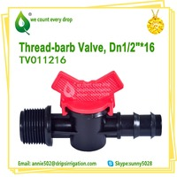 Agriculture Plastic Irrigation Mini Thread -barb valve for Pipe drip tape
