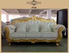 Guangzhou living room furniture , Gold frame color white velvet sofa set