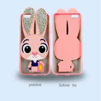2016 New Wholesale shiny diamond Cute Cartoon rabbit 3D Silicon back cover for iphone se 5 6s 7s fashion girl mobile phone case