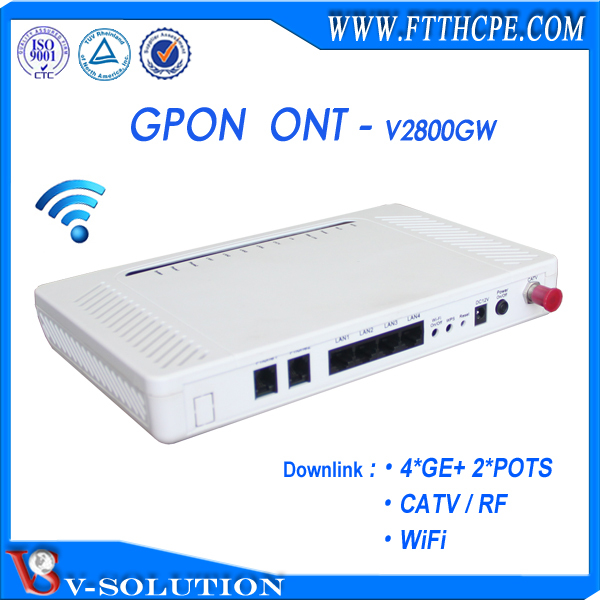 wireless GPON ONU 4 GE 2 FXS fiber optical CATV receiver same as HG8247