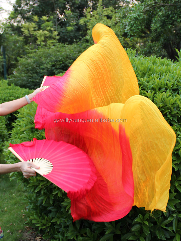 Chinese Natural Silk Belly Dance Fan Veils, Belly Dance Silk Fans, Red-Orange