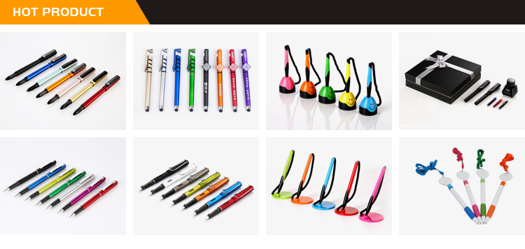 Custom Printed Cheap Personalized Desk Stand Gel Ink Plastic Counter Gel Pen With Chain
