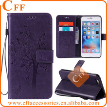 "Embossed leather case for iPhone 4 4s 3.5"" Flower Leafe Cat Butterfly Folding PU Leather Wallet Stand case with card Slot"
