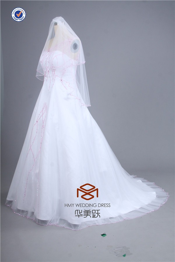 HMY-E0059 See Through One Strap Pink Pearls Beaded Tulle Overlay Lace-up Satin Floor Length Wedding Dresses with Bridal Veil