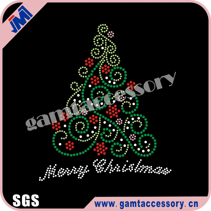 Bling Christmas Tree Rhinestone Rhinestud hot fix transfer