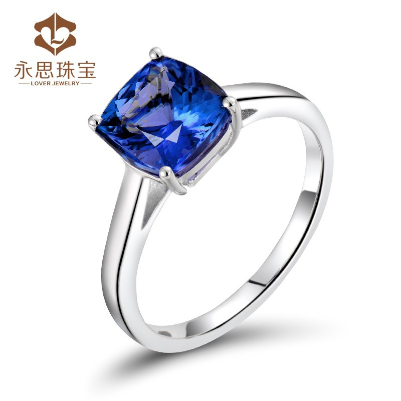 Exquisite 18Kt White Gold Ring Natural Blue Tanzanite Ring, Tanzanite Cushion 7x7mm Jewelry Supply WU216