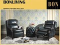 Luxury blue leather push back recliner