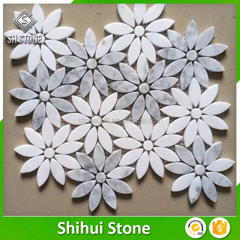 Hotel crystal stone strip free mosaic flowers patterns for floor