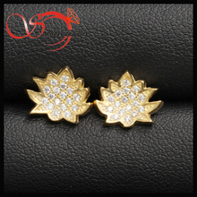 copper CZ Xmas tree earring pin for teenage girls accessories