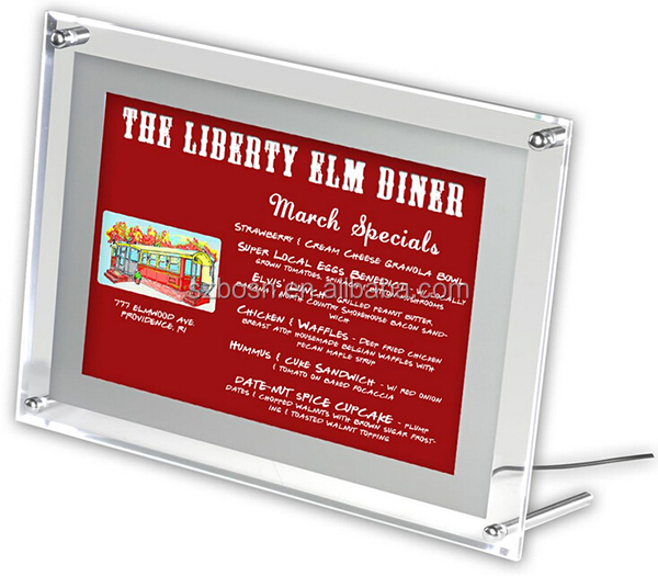 11 x 17 Acrylic Sign Holder with LED Lights for Wall Mount or Tabletop, Clear Standoff Hardware