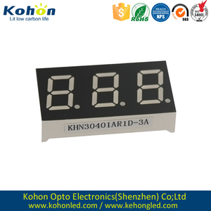 Triple digit 0.40 inch Red color common anode 7 segment LED display