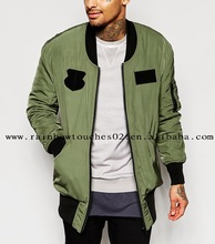 2016 mens custom Longline Patches Bomber jacket In Khaki