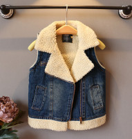 d47118a 2015 new winter design kids girls fur vest boy's jeans waistcoats clothes