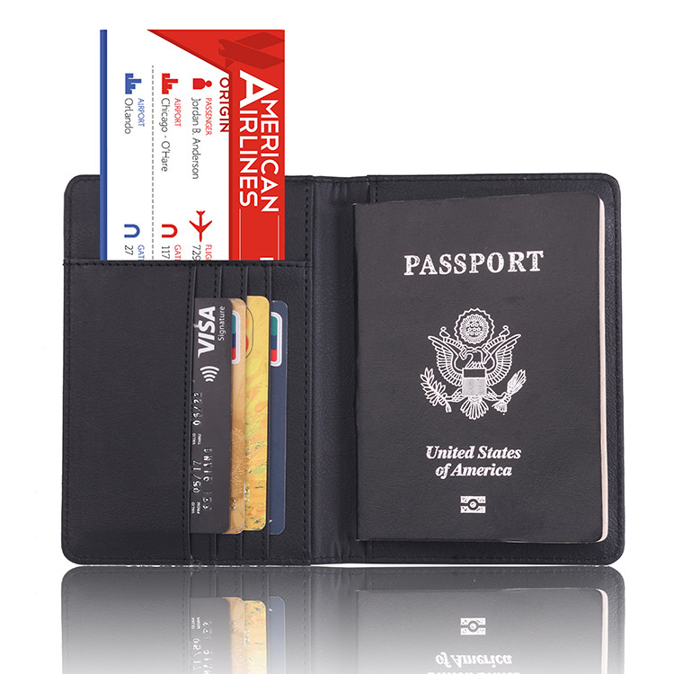 Multi-purpose Rfid blocking tri-fold leather rfid travel passport wallet for men and women