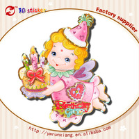 Wholesale 3D wall glitter happy birthday sticker cartoon characters for birthday parties