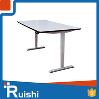 Adjustable metal frame wooden/glass dining table or desk