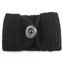 Fashion knitted headband with button,knit headwrap