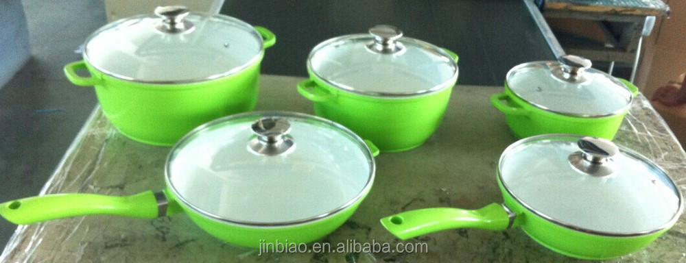 high quality ceramic kitchenware/die casting aluminum ceramic coated cookware/enamel pot thermos