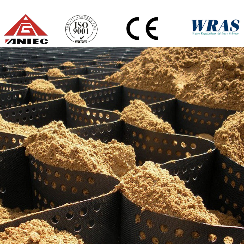 Grass Seed mat 50mm Cell Depth HDPE black geocell/geogrid for road construction